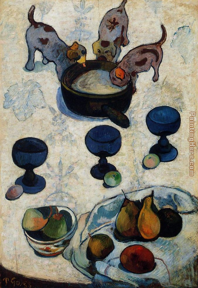 Still Life with Three Puppies painting - Paul Gauguin Still Life with Three Puppies art painting