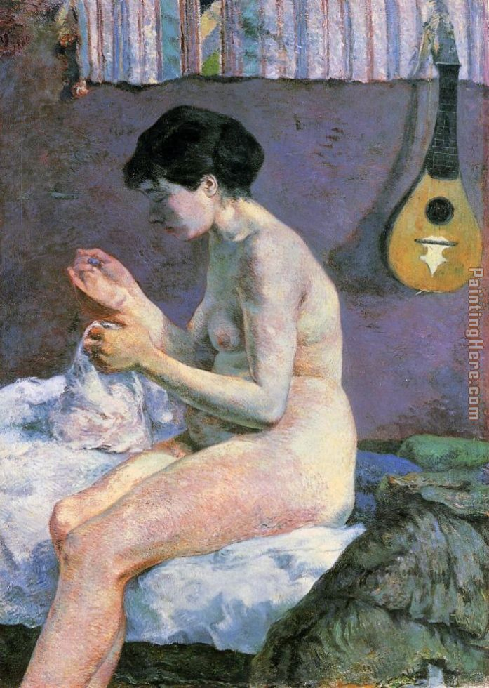 Study of a Nude Suzanne Sewing painting - Paul Gauguin Study of a Nude Suzanne Sewing art painting