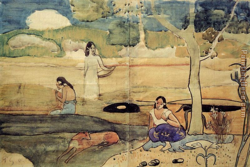 Paul Gauguin Tahitian Scene Art Painting