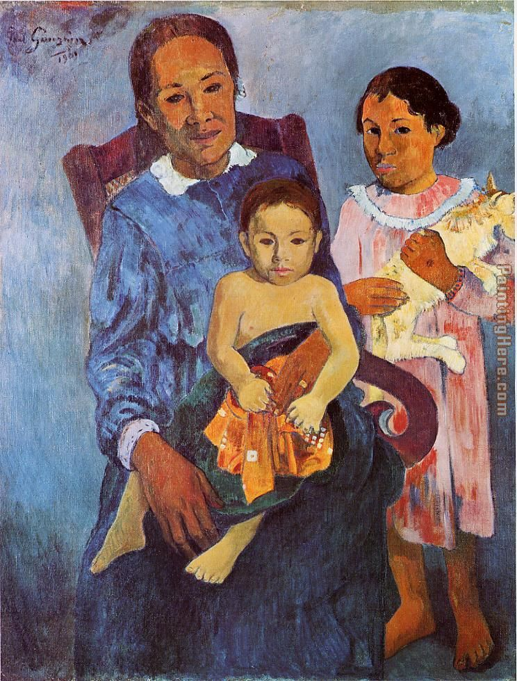 Tahitian Woman and Two Children painting - Paul Gauguin Tahitian Woman and Two Children art painting