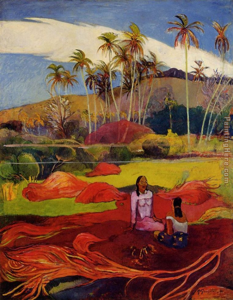 Tahitian Women under the Palms painting - Paul Gauguin Tahitian Women under the Palms art painting