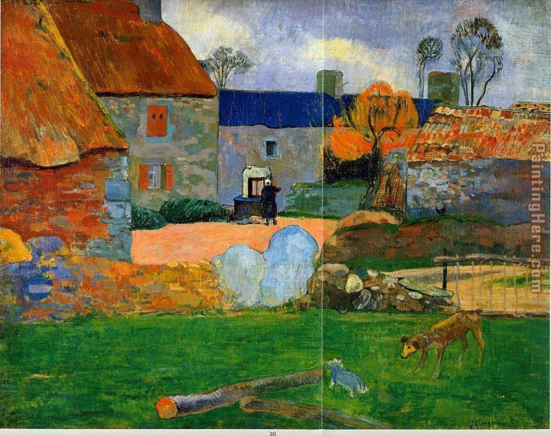 The Blue Roof painting - Paul Gauguin The Blue Roof art painting