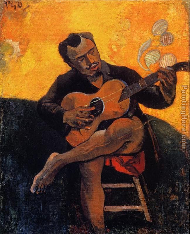 The Guitar Player painting - Paul Gauguin The Guitar Player art painting