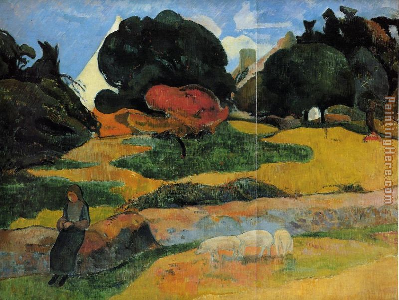 The Swineherd painting - Paul Gauguin The Swineherd art painting