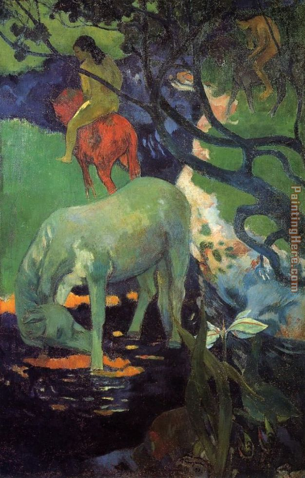 The White Horse painting - Paul Gauguin The White Horse art painting