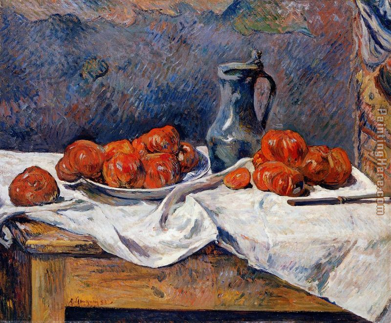 Tomatoes And A Pewter Tankard On A Table Painting   Paul Gauguin Tomatoes  And A Pewter
