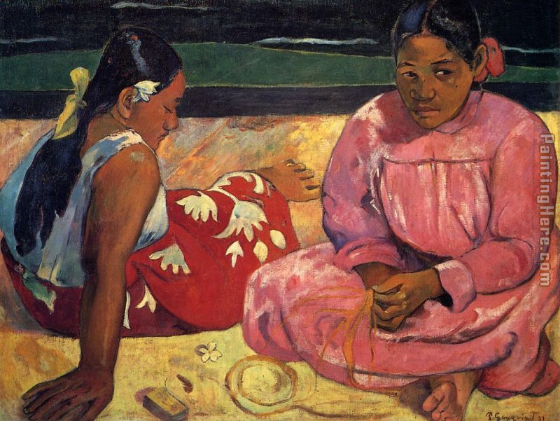 Two Women on Beach painting - Paul Gauguin Two Women on Beach art painting