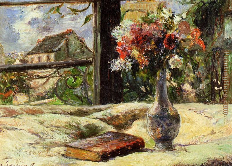 Vase of Flowers and Window painting - Paul Gauguin Vase of Flowers and Window art painting
