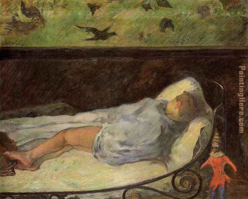 Young Girl Dreaming painting - Paul Gauguin Young Girl Dreaming art painting