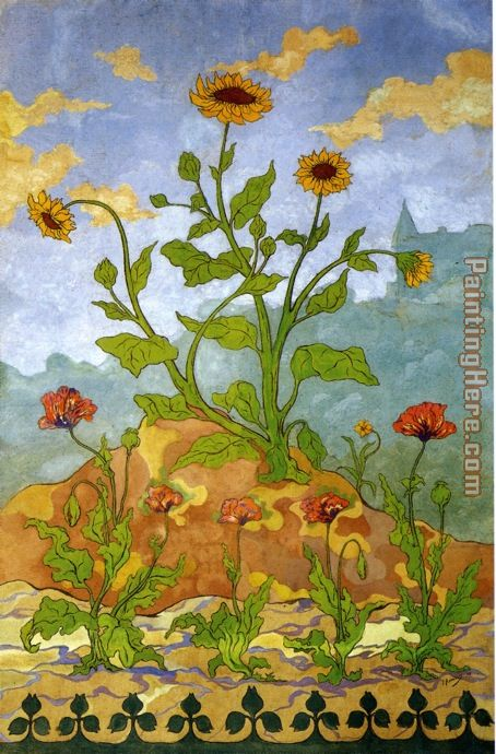 Paul Ranson Sunflowers and Poppies Art Painting