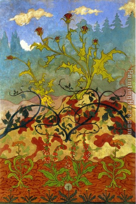 Thistle and Digitales painting - Paul Ranson Thistle and Digitales art painting