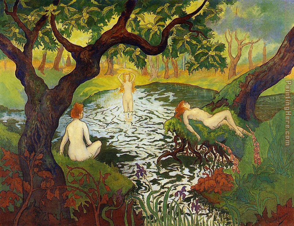Three Bathers with Irises painting - Paul Ranson Three Bathers with Irises art painting