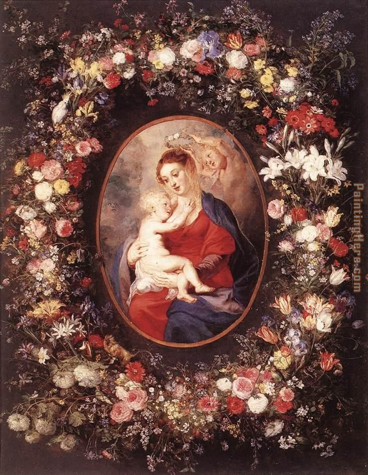 The Virgin and Child in a Garland of Flower painting - Peter Paul Rubens The Virgin and Child in a Garland of Flower art painting