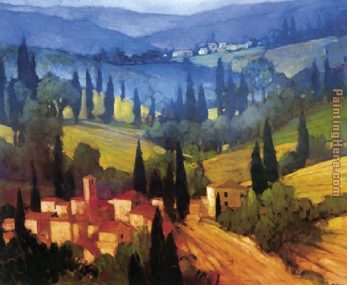 Tuscan Valley View painting - Philip Craig Tuscan Valley View art painting