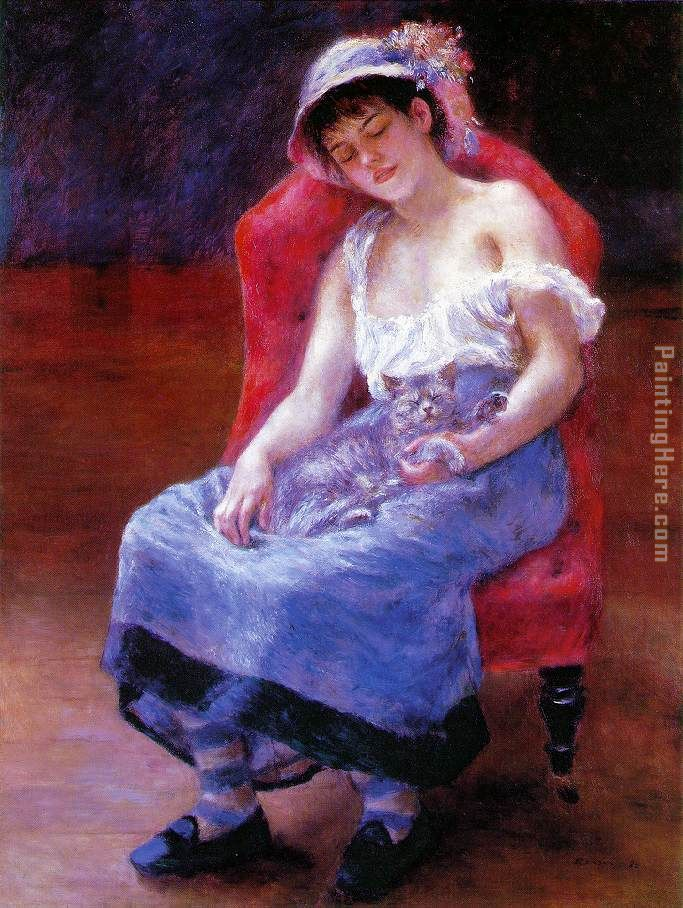 Pierre Auguste Renoir Sleeping Girl Art Painting