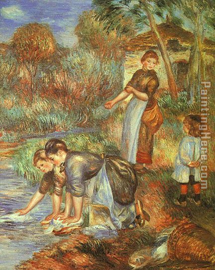 The Washer-Women painting - Pierre Auguste Renoir The Washer-Women art painting