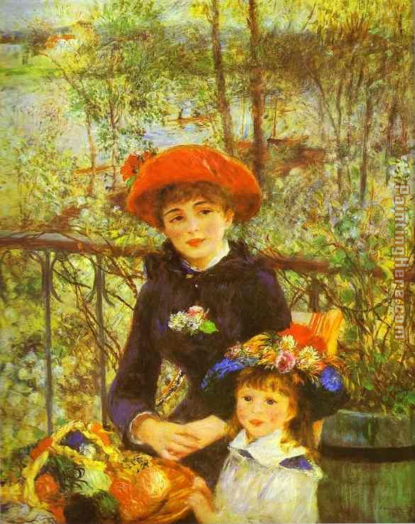 Two Sisters (On the Terrace) painting - Pierre Auguste Renoir Two Sisters (On the Terrace) art painting