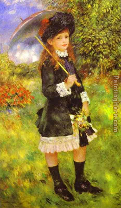 Young Girl with Parasol (Aline Nunes) painting - Pierre Auguste Renoir Young Girl with Parasol (Aline Nunes) art painting