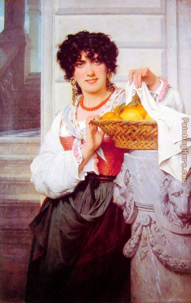 Pisan Girl with Basket of Oranges and Lemons painting - Pierre-Auguste Cot Pisan Girl with Basket of Oranges and Lemons art painting