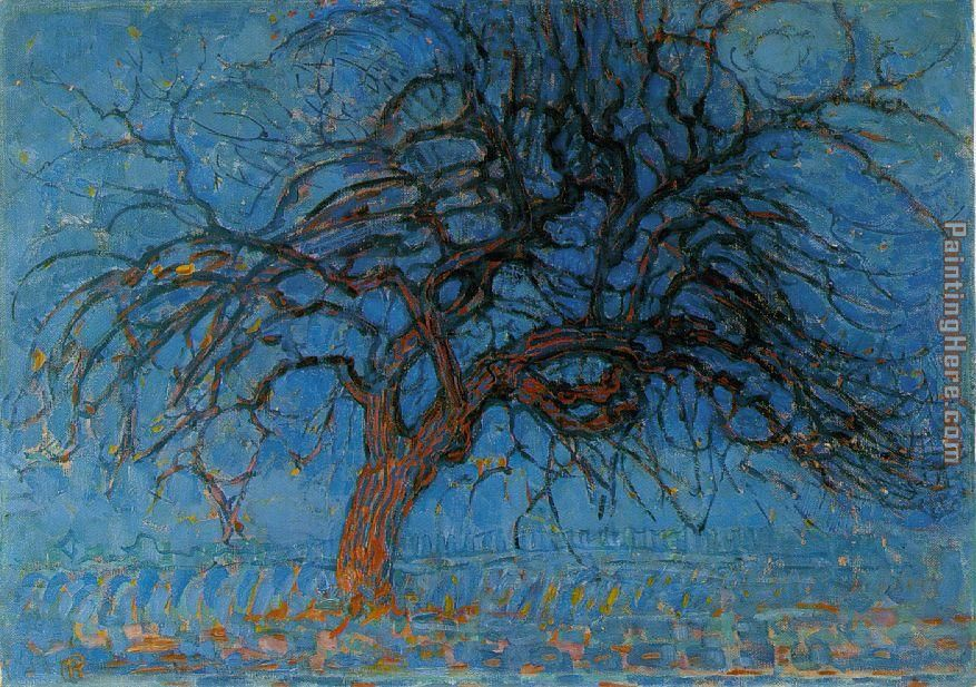 Piet Mondrian Avond Evening Red Tree Art Painting