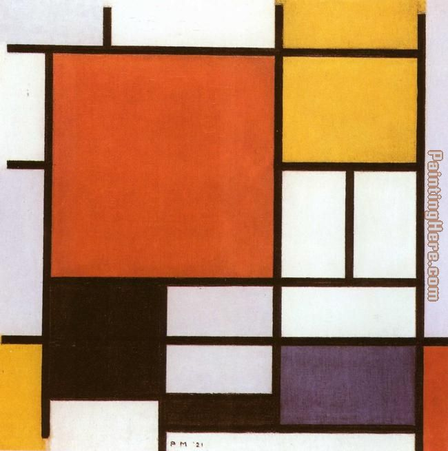 Composition with Red Yellow painting - Piet Mondrian Composition with Red Yellow art painting
