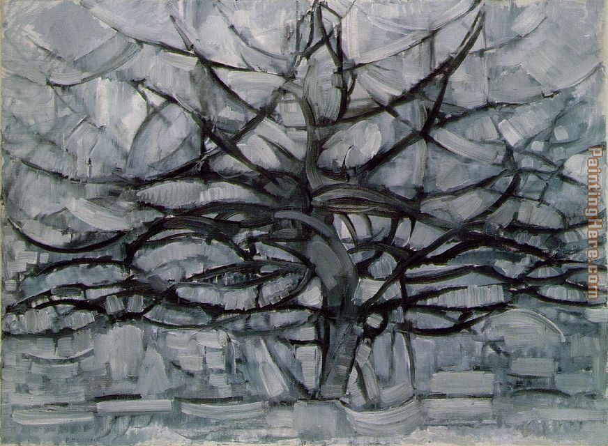 Piet Mondrian Gray Tree Art Painting