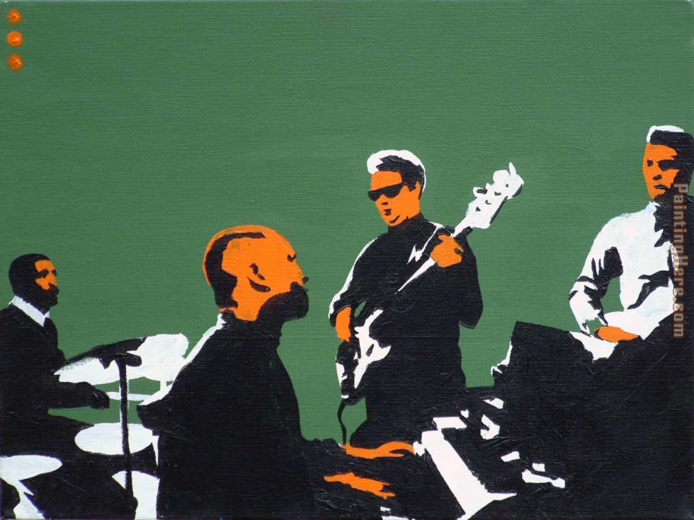 booker t & the mgs on green painting - Pop art booker t & the mgs on green art painting