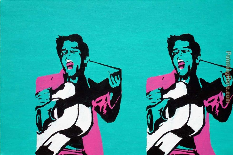 guitar player painting - Pop art guitar player art painting