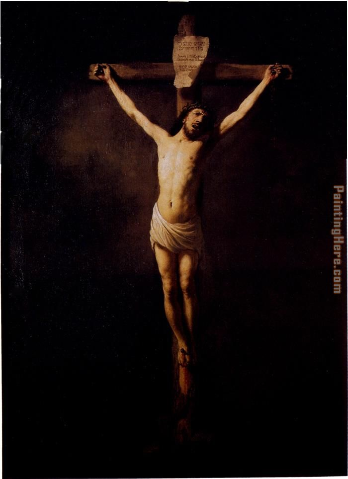 Christ On The Cross painting - Rembrandt Christ On The Cross art painting