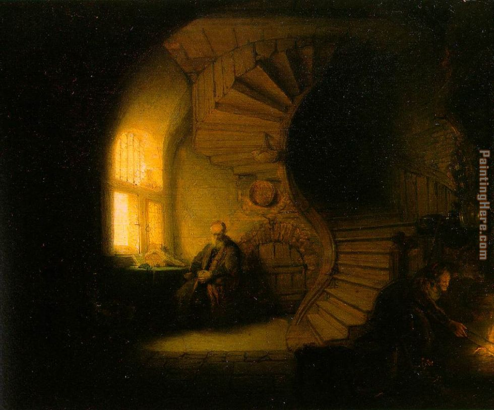 Rembrandt Philosopher in Meditation Art Painting