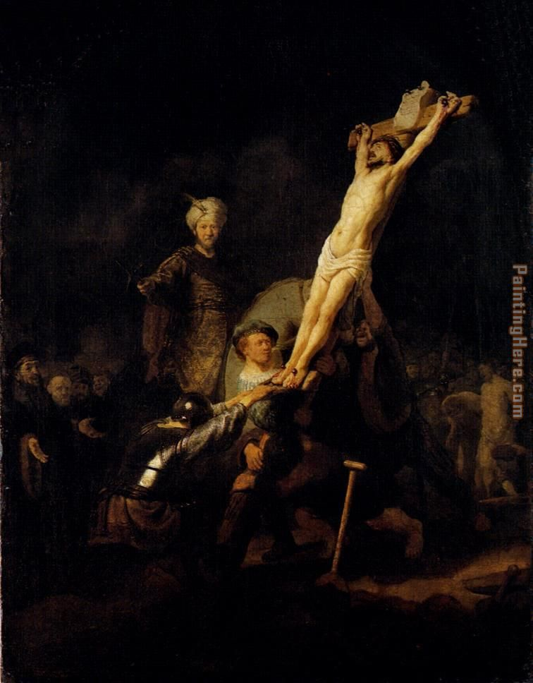 The Elevation Of The Cross painting - Rembrandt The Elevation Of The Cross art painting