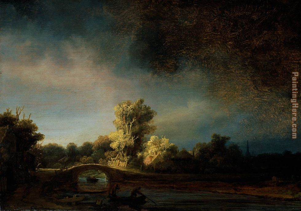 The Stone Bridge painting - Rembrandt The Stone Bridge art painting