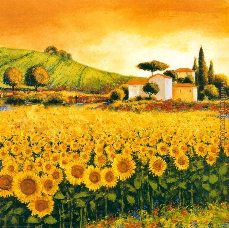 Valley Of Sunflowers Painting Richard Leblanc Art