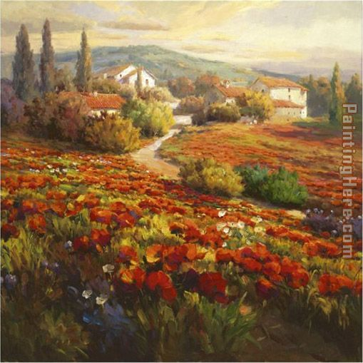 Poppy Fields painting - Roberto Lombardi Poppy Fields art painting