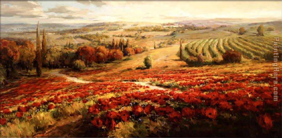 Roberto Lombardi Red Poppy Panorama Art Painting