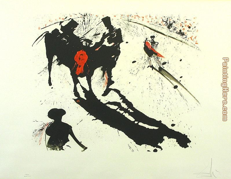 Bullfight 1 painting - Salvador Dali Bullfight 1 art painting