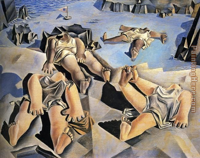 Figures Lying on the Sand painting - Salvador Dali Figures Lying on the Sand art painting