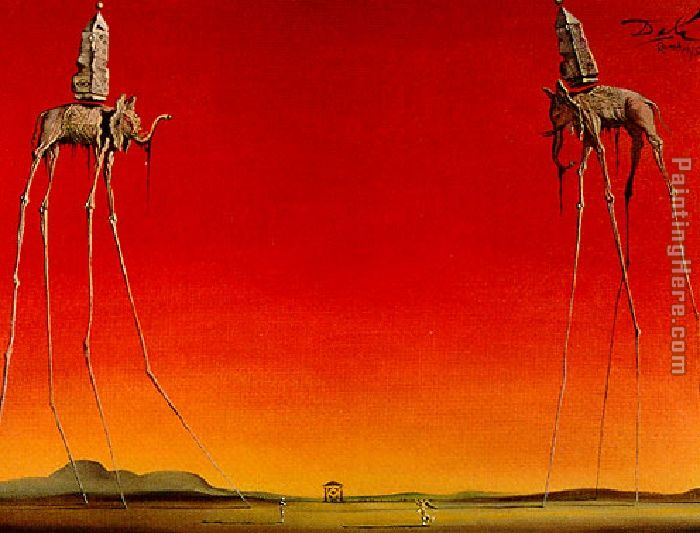 Salvador Dali Les Elephants Art Painting