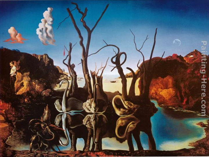 Salvador Dali Swans Reflecting Elephants Art Painting