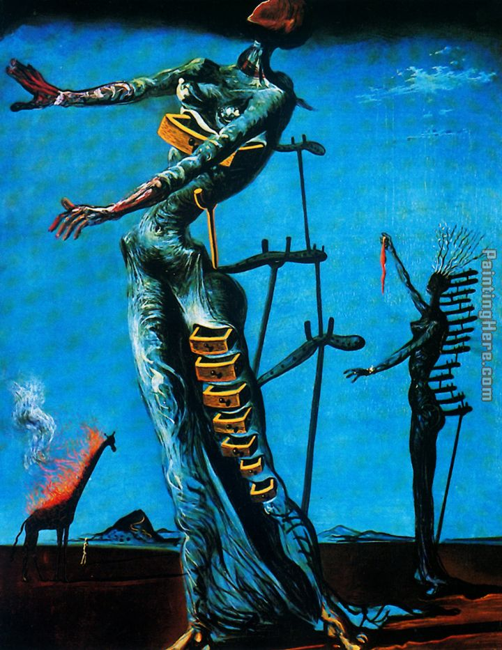 The Burning Giraffe 2 painting - Salvador Dali The Burning Giraffe 2 art painting
