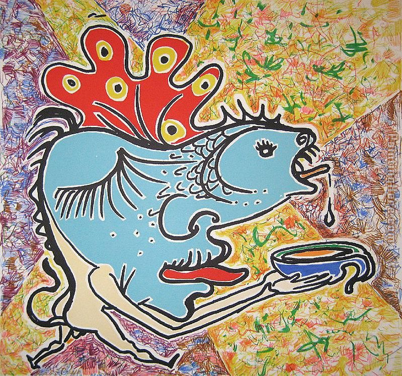 the fish painting - Salvador Dali the fish art painting