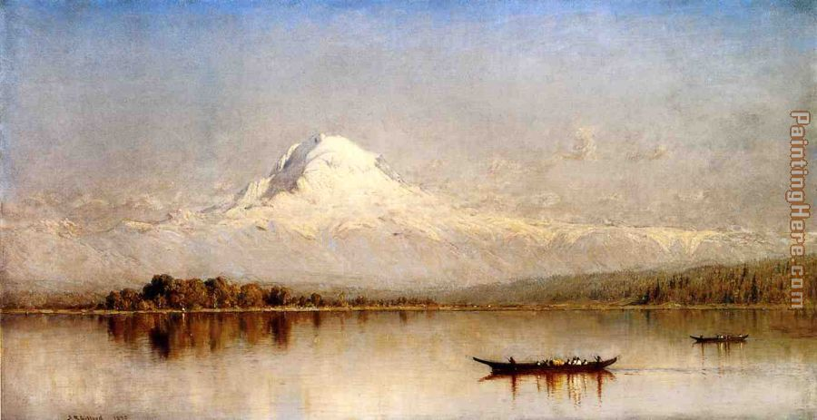 Mount Rainier, Bay of Tacoma, Puget Sound painting - Sanford Robinson Gifford Mount Rainier, Bay of Tacoma, Puget Sound art painting