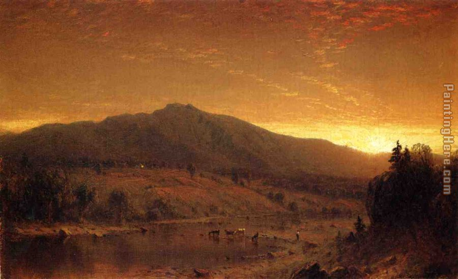 Sunset painting - Sanford Robinson Gifford Sunset art painting