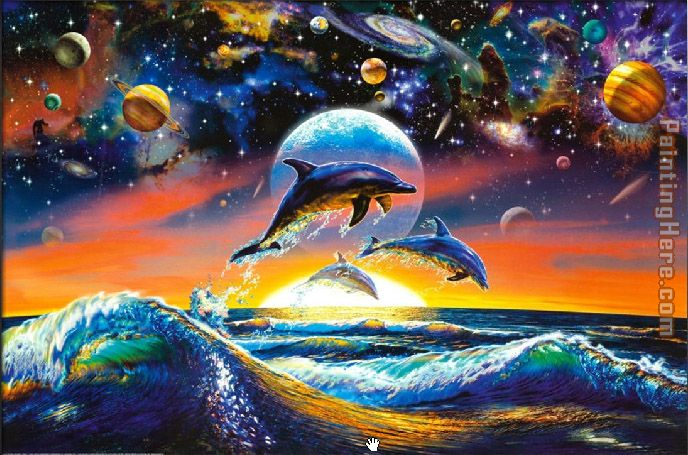 Sea life dolphin universe painting anysize 50 off for Sea life paintings artists