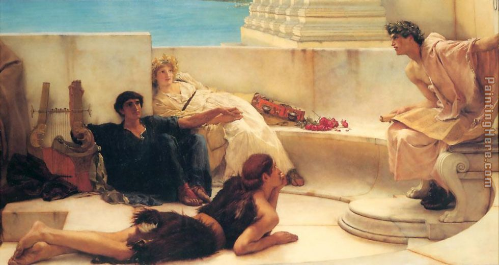 A Reading from Homer painting - Sir Lawrence Alma-Tadema A Reading from Homer art painting