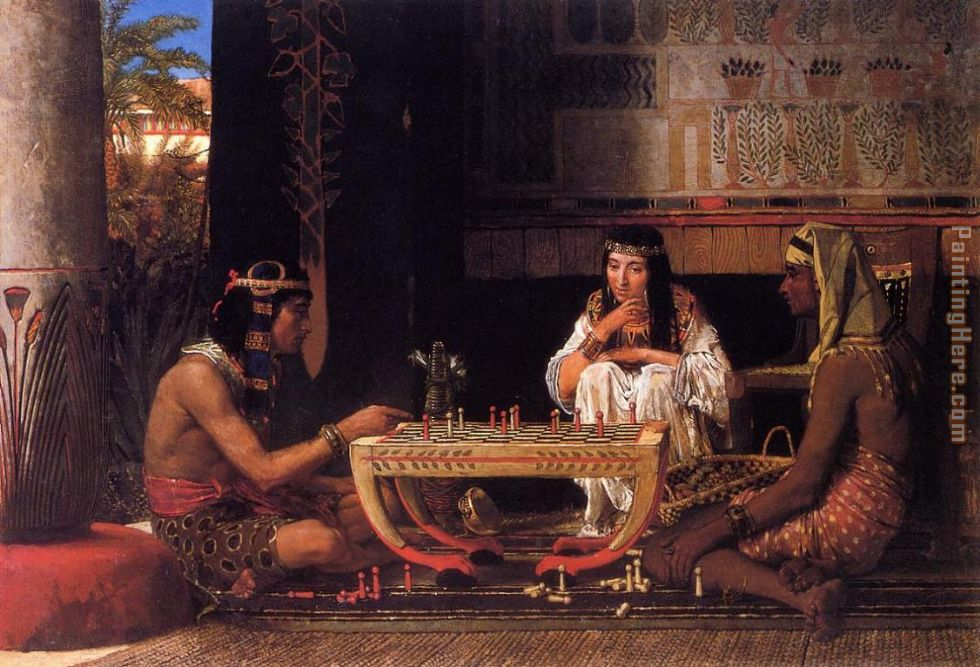 Egyptian Chess Players painting - Sir Lawrence Alma-Tadema Egyptian Chess Players art painting