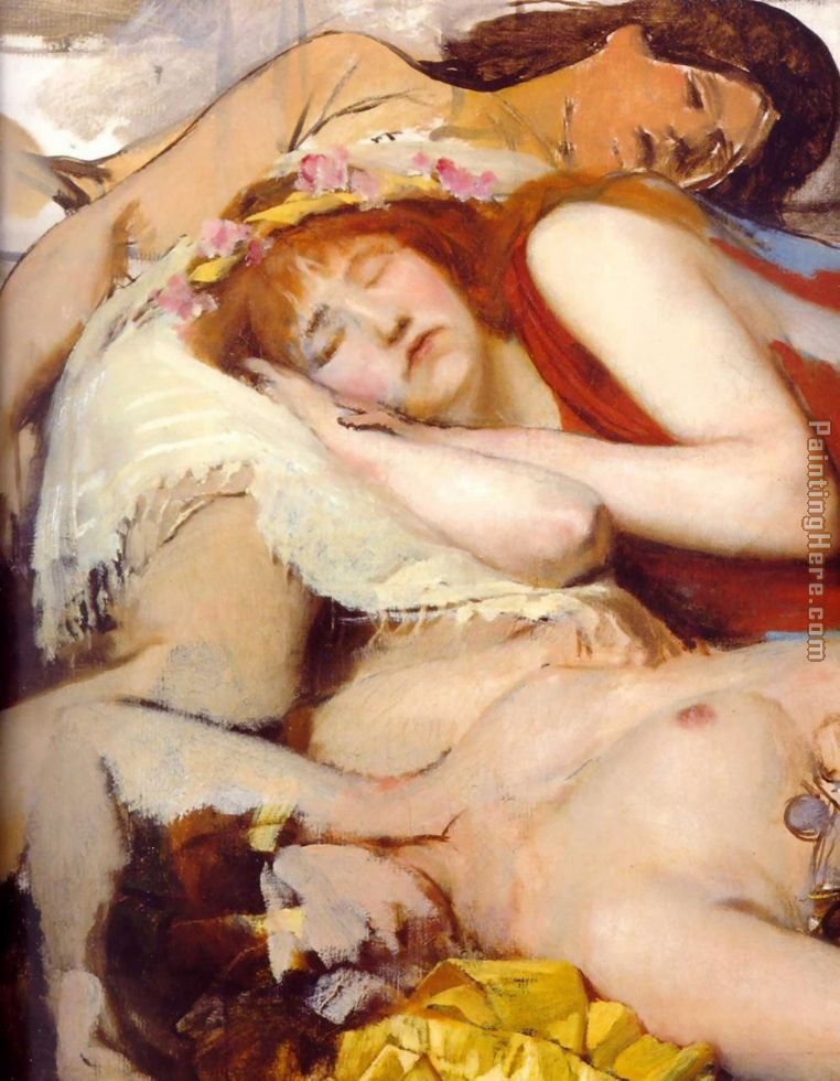 Exhausted Maenides after the Dance painting - Sir Lawrence Alma-Tadema Exhausted Maenides after the Dance art painting