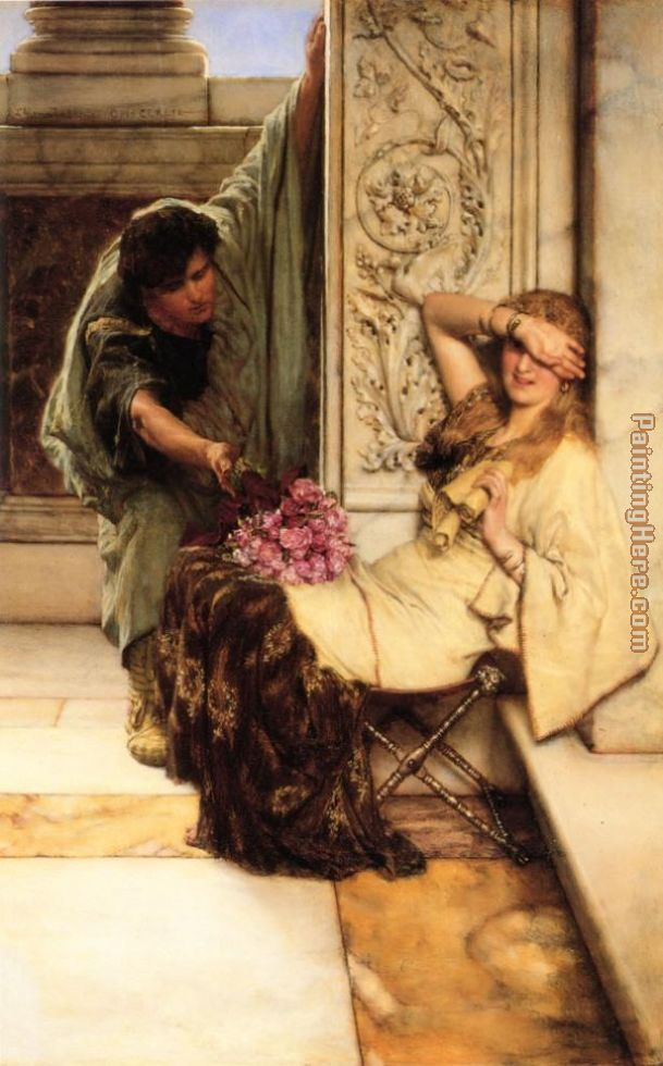 Shy painting - Sir Lawrence Alma-Tadema Shy art painting
