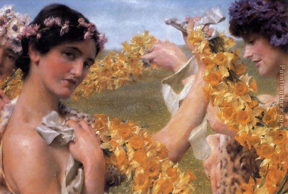 Sir Lawrence Alma-Tadema When Flowers Return Art Painting