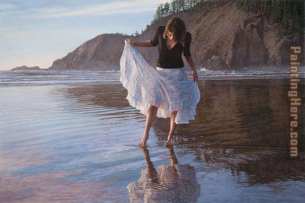 Reflecting on Indian Beach painting - Steve Hanks Reflecting on Indian Beach art painting
